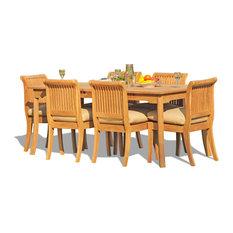 "7-Piece Set, 71"" Rectangle Table, 6 Giva Chairs, Sunbrella Cushion, Natural"