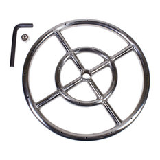 """12"""" Round Fire Pit Burner Ring, Stainless Steel, Double Ring"""