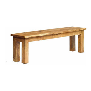 Rustic Dining Bench, Solid Acacia Hardwood With Thick Legs for Great Support
