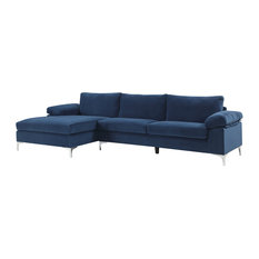 Modern Large Velvet Fabric Sectional Sofa, L-Shape Couch With Extra Wide Chaise