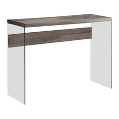 32-inch Particle Board And Clear Tempered Glass Table Dark Taupe