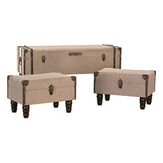 Sterling Linen Covered Travelers Trunks, Sand Colored Linen With Brown, Set of 3