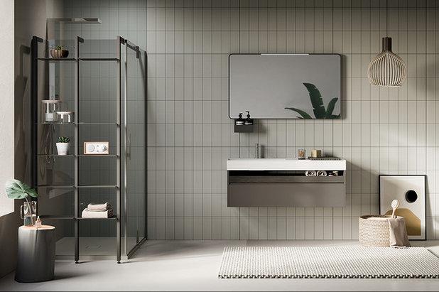 tendances salle de bains 2019 lignes pures et salle de bains moins minimaliste. Black Bedroom Furniture Sets. Home Design Ideas