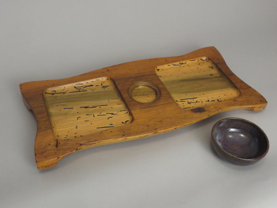 #15030 Detail. #15030 Hand-Carved Serving Tray. Reclaimed Poplar, Ceramic Bowl.