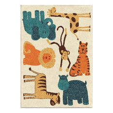 "Orian Indoor/Outdoor Kids Court Puzzled Area Rug, 5'2""x7'6"""