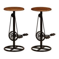 VidaXL 2x Solid Mango Wood Bar Stools Restaurant Kitchen Dining Chair Seat