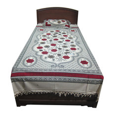 Mogul Interior - Cotton Handloom Indi Hippie Bedding Bedspreads with Pillow Sham Twin Sz - Sheet And Pillowcase Sets