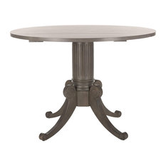 Traditional Dining Table, Round Top With Drop Leaf, Elegant Carved Legs, Grey Wa