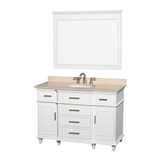 "Wyndham Collection - Wyndham Collection 48"" Berkeley White Single Vanity With Ivory Marble Top - Bathroom Vanities and Sink Consoles"