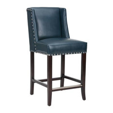 Wing Back Bar Stool, Blue Leather With Silver Nailhead, Counter Seat