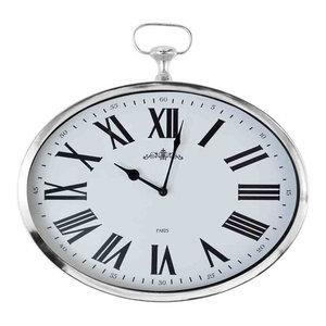 EMDE Fob Wall Clock, Horizontal, Chrome