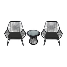 3-Piece Aiden Outdoor Wicker Chat Set, Gray and White