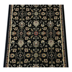 "Radiance Traditional Stair Runner Black, 26""x1' Rug Runner"