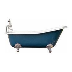 """67"""" Antique-Style Hague Blue Cast Iron Porcelain Clawfoot Bathtub"""