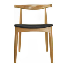 2xhome   Real Oak Wood PU Leather Cushion Seat Modern Wood Side Dining  Chair, Natural