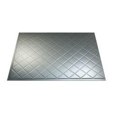 "18""x24"" Fasade Quilted Backsplash Panel, Brushed Aluminum"