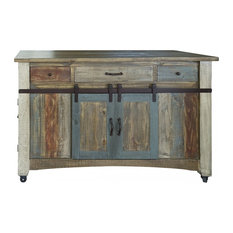 Burleson Home Furnishings - Anton Handmade Fully Built Wood Furniture Kitchen Island, Multicolor - Kitchen Islands and Kitchen Carts