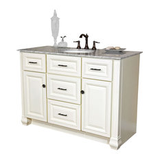 "Bellaterra 50"" Single Sink BathroomVanity, White Finish, Marble Countertop"