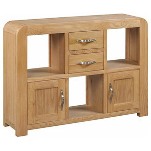 Display Cabinet, Oak Lacquered Solid Wood With 3-Shelf, 2-Door and Drawers