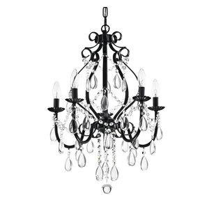 Amorette 5-Light Antique Black Candle Style Crystal Chandelier Fixture Glam