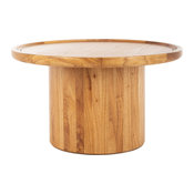 Devin Round Pedestal Coffee Table - Natural