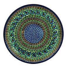 "Polish Pottery 10"" Stoneware Plate Hand-Decorated Design"