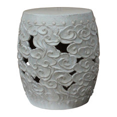 Ceramic Clay Off White Glaze Round Scroll Pattern Garden Stool Hcs4784