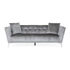 Fisher Glam 3 Seater Velvet Sofa Smoke Gray Silver