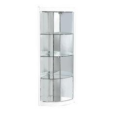 6617-CUR-COR-WHT Corner Curio Cabinet With Mirror Interior