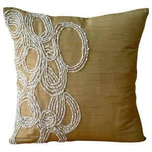 Luxury Gold Jute Cushions Cover, Art Silk 45x45 Cushion Cover, Jute Rings