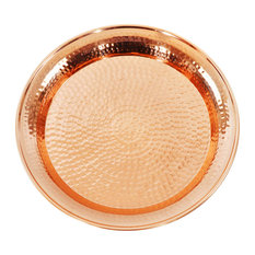 Hammered Copper Circular Tray With Rolled Edges