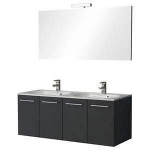Boston Two-Door Double Bathroom Vanity Unit, Black, 120 cm