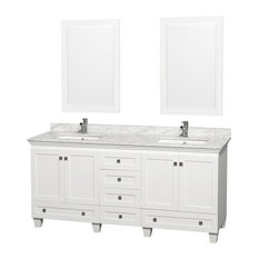 Double Bathroom Vanity Set, White, White Carrara Marble Countertop, 72""