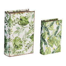 Botanical Decorative Box in Green And White