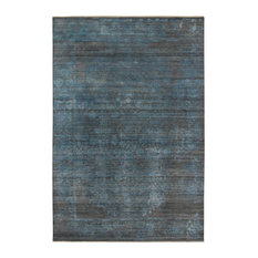 Persephoeba Shaler Dark Gray/Blue Hand-Knotted Wool/Silk Area Rug, 8'x10'