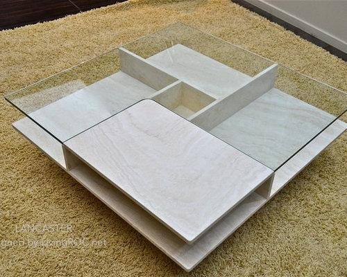 Table basse pierre et verre haut de gamme (marbre Persan)100x100x35c ...