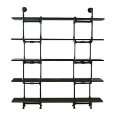 "OS Home and Office Industrial 64"" 5-Shelf Pipe Bookcase, Reclaimed Aged Wood"