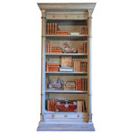 Candace Barnes - Neoclassical Inspired Columnar Augustus Bookcase - Candace Barnes Now Designed Neoclassical Inspired Columnar Augustus Bookcase. The whole in dove gray polychrome and silver leaf