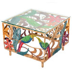 Jo-Liza International - Willow Side Table - ottoman handoven worught iron with multi colored seagrass with bird and flower design