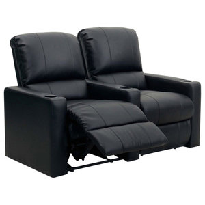 Row of 2 Home Cinema Chairs, Black Bonded Leather With Lower Lumbar Support