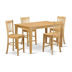 5-Piece Counter Height Pub Set High Top Table And 4 Counter Height Chairs