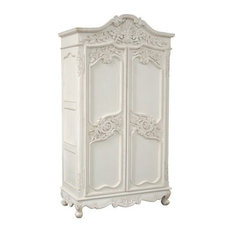 THE Designs - French Carved Armoire Wardrobe, 6 Drawers, Chateau White - Armoires and Wardrobes