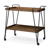 Laydon Textured Metal Distressed Ash Wood Mobile Serving Cart, Antique Black