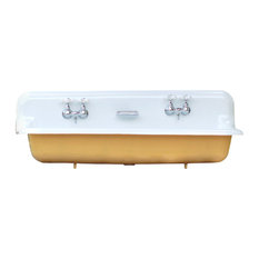 "Large 48"" India Yellow Antique-Inspired Farm Sink Cast Iron Trough Sink Package"