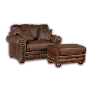 Western Style Leather Sofa Traditional Sofas By