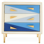 Jonathan Adler - Harlequin Three-Drawer Chest, Multi-Blue - Our Harlequin collection's bold, new look is a little Italian Modern, and a lot of irresistible pop.
