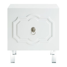 Molly Lacquer-Finish Chrome Ornament Handle Lucite Leg Side Table, White