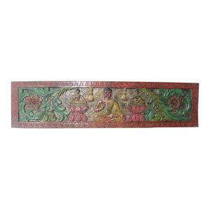Mogul interior - Consigned Decorative Buddha Headboard Carved Door India Solid Rustic Wood - Wall Sculptures