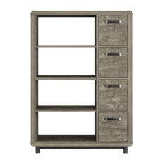 Springhurst Bookcase With Bins, Weathered Oak