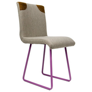 Upholstered Leather Detail Chair, Purple